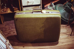 Vintage green leather suitcase Royalty Free Stock Photo