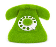 Vintage green phone of grass. Icon 3D Stock Images