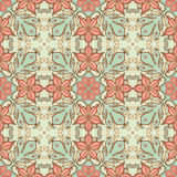 Retro green pattern. Vintage green and pink floral seamless pattern Stock Image