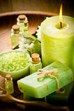 Vintage green spa still life Royalty Free Stock Photos