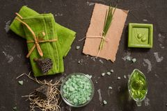 Vintage green spa still life with handmade soap. Flay lay, Top view .Postcard on kraft paper stock image
