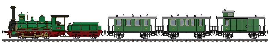 Vintage green steam passenger train. Hand drawing of a vintage green steam passenger train stock illustration