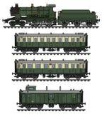 Vintage green steam passenger train Stock Images