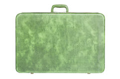 Vintage green suitcase. Isolated over white background Stock Images