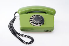 Vintage green telephone Royalty Free Stock Image