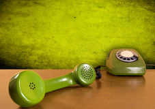 Vintage green telephone stock images