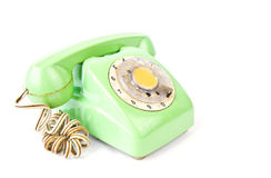 Vintage green telephone isolated Royalty Free Stock Images