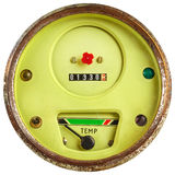 Vintage green temperature meter isolated on white Stock Photography