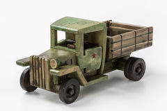 Vintage green truck toy car made of wood. Royalty Free Stock Photography