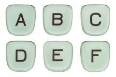 Vintage Green Typewriter Keys Letters A Through F Royalty Free Stock Images