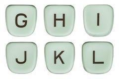 Vintage Green Typewriter Keys Letters G Through L Stock Photos