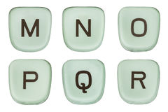 Vintage Green Typewriter Keys Letters M Through R Royalty Free Stock Photography