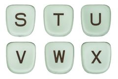 Vintage Green Typewriter Keys Letters S Through X Stock Images