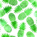 Vintage green watercolor pineapple seamless Royalty Free Stock Photos
