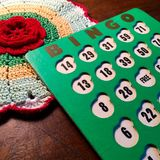 Vintage green and white Bingo card. Royalty Free Stock Image