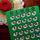 Vintage green and white Bingo card. Stock Photo