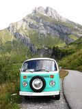 Vintage green and white Volkswagen combi van. France royalty free stock photos