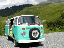 Vintage green and white Volkswagen combi van. France stock images