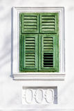 Vintage green window on white wall Royalty Free Stock Photo