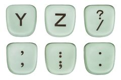 Vintage Green Y and Z Typewriter Keys and Punctuation Stock Photography