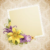 Vintage greeting card. With flowers and place for text Royalty Free Stock Images