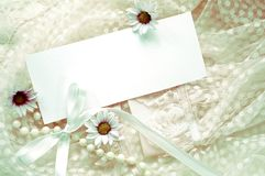 Vintage greeting card. Vintage note and greeting card with lace,flowers ,pearls and bow Royalty Free Stock Photo