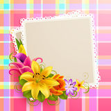 Vintage greeting card. With flowers and photo. Vector illustration Stock Photos