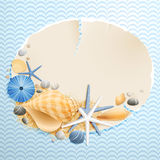 Vintage greeting card. With shells and starfishes and place for text Royalty Free Stock Image