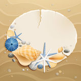 Vintage greeting card. With shells and starfishes on sand background. Vector illustration Stock Image