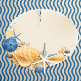 Vintage greeting card. With shells and starfishes and place for text Stock Photos
