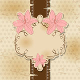 Vintage greeting card. Vector vintage greeting card with lily Royalty Free Stock Photo