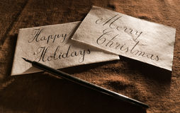 Vintage Greeting Card. Close-up of a vintage looking handwritten greeting cards Royalty Free Stock Photography