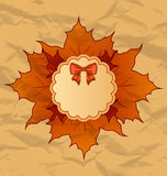 Vintage greeting card with  autumn maple leaves Stock Image