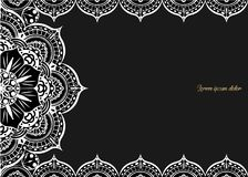 Vintage greeting card on a black background. Luxury ornament template. Great for invitation, flyer, menu, brochure, postcar. D, background, wallpaper, decoration Stock Photography