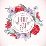 Vintage Greeting Card with Blooming Flowers Royalty Free Stock Photo