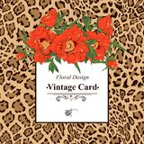 Vintage greeting card with blooming flowers. Royalty Free Stock Photography