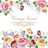 Vintage Greeting Card with Blooming Flowers . With Place for You Royalty Free Stock Photos