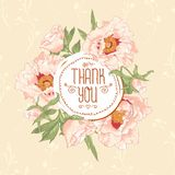 Vintage greeting card with blooming flowers Royalty Free Stock Images