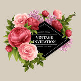 Vintage  Greeting Card with Blooming Flowers. Vector Illustration EPS10 Royalty Free Stock Photos