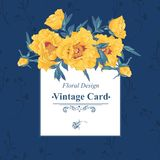 Vintage greeting card with blooming flowers Royalty Free Stock Photos