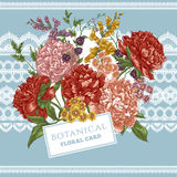 Vintage Greeting Card with Blooming Peonies Royalty Free Stock Photo