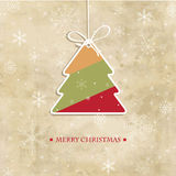 Vintage greeting card with  christmas tree Stock Photography