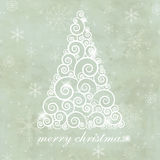 Vintage greeting card with  christmas tree Royalty Free Stock Photography