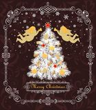 Vintage greeting card with Christmas white tree with golden balls, baubles, cookies, candy, angels, star and gingerbread, paper ha. Vintage greeting card with vector illustration