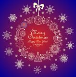 Vintage greeting card with christmas wreath Stock Photos