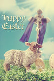 Vintage greeting card with the cross and  lamb as symbol of east Stock Photography