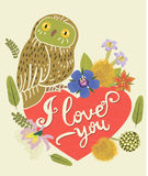 Vintage Greeting Card With Cute Owl. Heart And Floral Wreath. Beautiful Background. Can Be Used As Greeting Card. Stock Photo