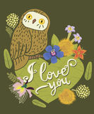 Vintage greeting card with cute owl, heart and floral wreath. Stock Photography