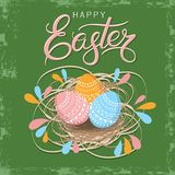 Vintage greeting card for Easter. Hand drawn lettering text `Happy Easter` on grunge background. Bright green background. Happy Easter in modern style. Holiday Royalty Free Stock Photos
