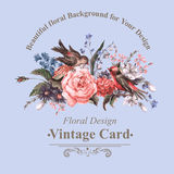 Vintage Greeting Card with Flowers and Birds. Royalty Free Stock Image